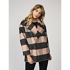 Centigrade Check Plaid Wool Mix Coat