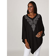 Frank Usher Simulated Pearl & Crystal Embellished Knitted Poncho
