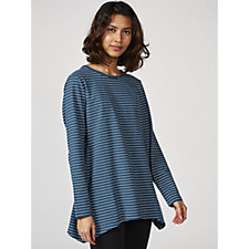 Denim & Co. Striped Long Sleeve Round Neck Trapeze Top