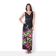 Tiana B Border Print Drape Neck Maxi Dress