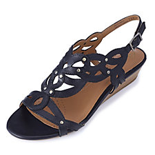 Clarks Playful Tunes Leather Strappy Sandal w/ Wedge Heel