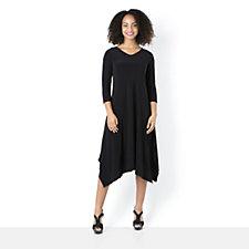 Yong Kim Jersey V Neck Contrast Hem Dress
