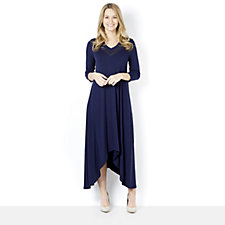 Join Clothes V Neck Dress with Dip Side Hem & Lux Neck Insert