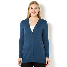 Isaac Mizrahi Live Boyfriend Cardigan with Hidden Placket