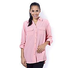 Denim & Co. Roll Tab Sleeve Button Front Soft Shirt