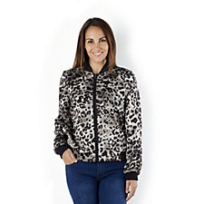Helene Berman Animal Print Bomber Jacket