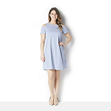 Ronni Nicole Textured Knit A Line Dress w/ Cold Shoulder