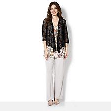 Kim & Co Floral Mesh 3/4 Sleeve Bolero