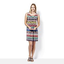 Ronni Nicole Sleeveless Printed Swing Dress with Pintuck Detail