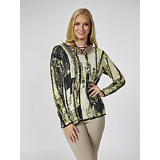 MarlaWynne Printed Midified Sweater Knit Box Top with Tipping Detail