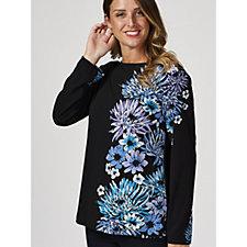 Bob Mackie Long Sleeve Floral Printed Top