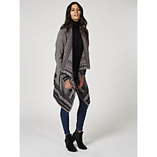 Denim & Co. Long Sleeve Drape Front Cardigan with Jacquard Borders