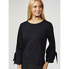 Betty & Co Fluted Sleeve & Tie Detail Top