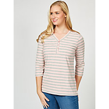 Denim & Co. 3/4 Sleeve Striped Knit Top