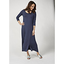 Join Clothes 3/4 Sleeve Dress with Split Front Hem