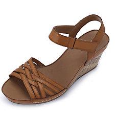 Clarks Rusty Wish Leather Strappy Sandal w/ Wedge Heel