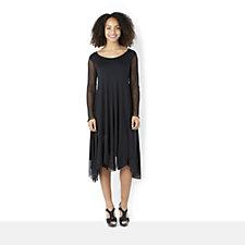 157379 - Yong Kim Modal Drape Dress with Mesh Sleeve