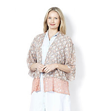 158679 - LOGO by Lori Goldstein Jersey Kimono with Print Chiffon and Lace Trim
