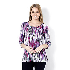 Mr Max Painterly Print Elbow Sleeve Top