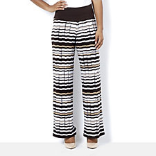 Women with Control Tummy Control Stripe Printed Wide Leg Trouser