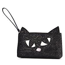 Lulu Guinness Kooky Cat Black Glitter T-Seam Pouch