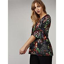 Kim & Co Rose Romance Brazil Knit Fluted Sleeve Tunic