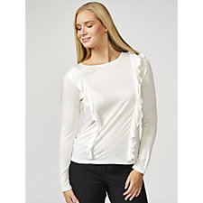 Betty & Co Long Sleeve Double Frill Front Detail Top