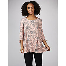 3/4 Sleeve Printed Tunic with Side Drape Pocket Detail by Nina Leonard