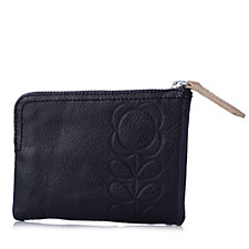 Orla Kiely Flower Stem Embossed Leather Medium Flat Zip Wallet