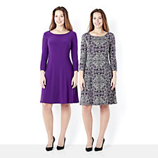 Pack of 2 Print & Plain Dresses with Panelled Detail by Nina Leonard