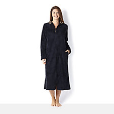 Carole Hochman Microfleece Zip Front Long Dressing Gown