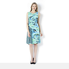 Nick Verreos Sleeveless Printed Jersey Dress