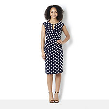 158580 - Ronni Nicole 'O So Slim' Sleeveless Spot Dress with Key Hole Neck Detail