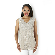 Fashion by Together Sleeveless Lace Top with Crochet Detail