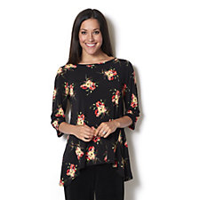 159680 - Kim & Co Wild Roses Brazil Knit Elbow Sleeve Boat Neck Top