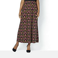 Kim & Co Filigree Floral Brushed Venechia Maxi A-Line Skirt