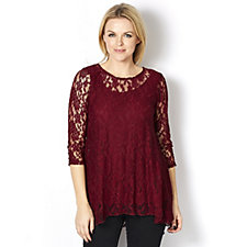 Attitudes by Renee Lace Tunic with Jersey Lining
