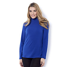 Denim & Co. Essentials Rib Polo Neck Long Sleeve Top