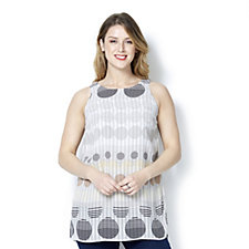 Coco Bianco Round Neck Spot Print Sleeveless Top