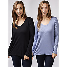 H by Halston Long Sleeve Scoop Neck Solid Tops 2 Pack