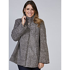 Centigrade Ribbed Faux Fur A Line Jacket