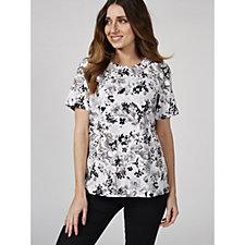 Denim & Co. Printed Jersey Short Sleeve Round Top