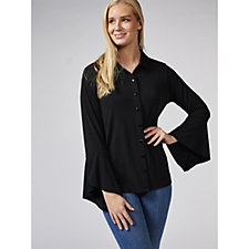 Flare Sleeve Button Front Shirt by Michele Hope