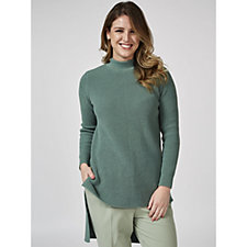 Long Sleeve Jumper with Exaggerated Hi Lo Hem by Nina Leonard