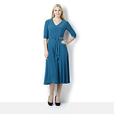 3/4 Sleeve Sylvia Dress with Chain Belt by Nina Leonard