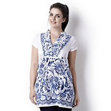 Pomodoro Floral Printed Tunic Top