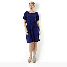Tiana B Elbow Length Jersey Dress with Smocked Waist