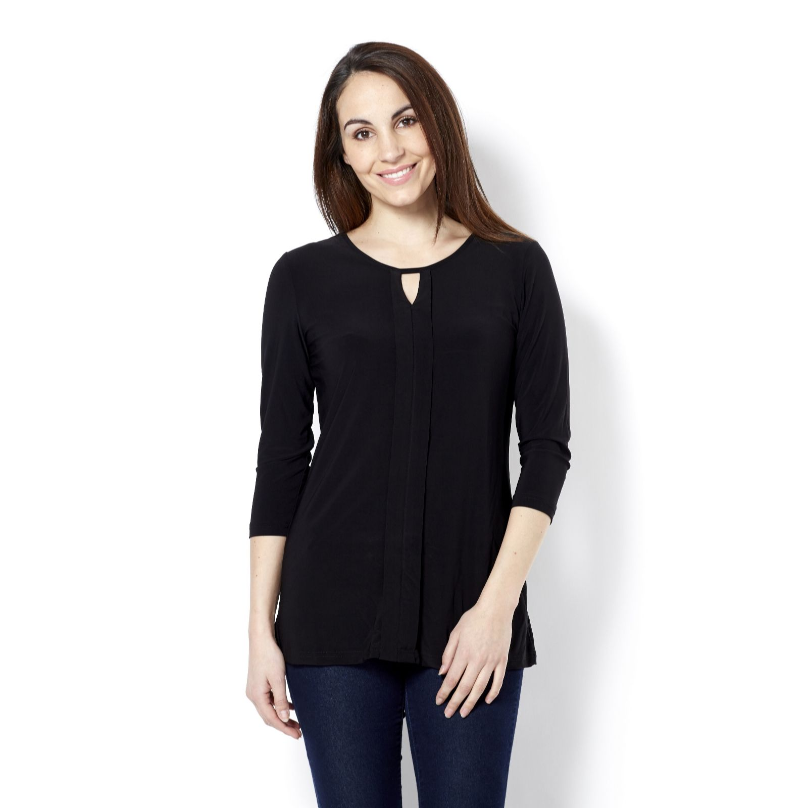 Elbow Length Tunic with Scoop Neck & Keyhole Detail by Nina Leonard