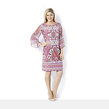 Ronni Nicole 'O So Slim' Chiffon Sleeve Paisley Print Jersey Dress