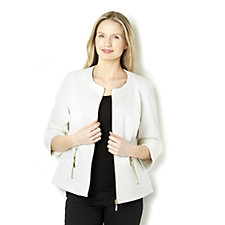 Dennis Basso Ponte Zip Jacket with Quilted Faux Leather Trim